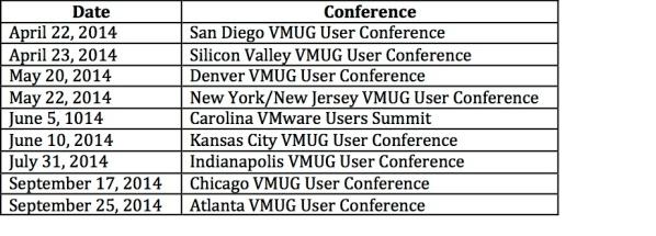 vmug schedule