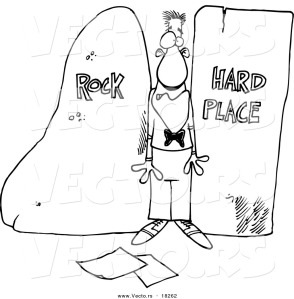 vector-of-a-cartoon-man-stuck-between-a-rock-and-a-hard-place-outlined-coloring-page-by-ron-leishman-18262